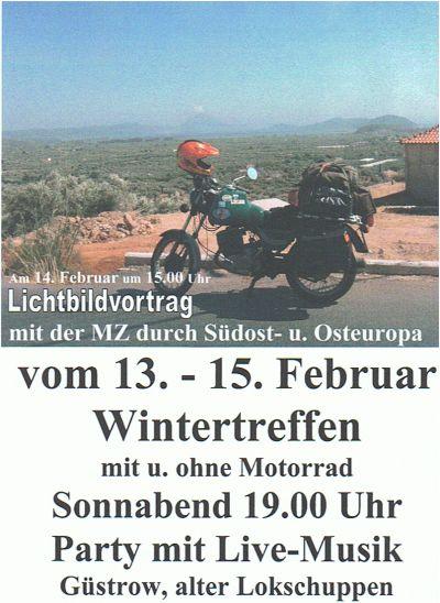 Ankündigung Wintertreffen Güstrow 2009